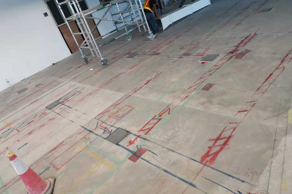 Lines marked RED are the post tension cables.